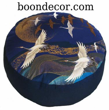 "Meditation Cushion - Combination Fill Zafu - One of a Kind ""Cranes over Waves  Asian Dawn"""