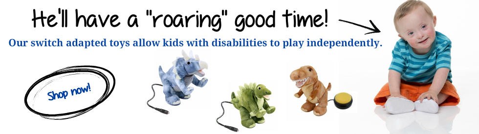 Switch adapted toys for kids with disabilities.