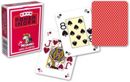 Poker Card Deck, 4-Corner Mini-Index, 100% Plastic, Red Back