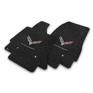 C7 Corvette Stingray Floor Mats - Ultimat Lloyds Mats with C7 Crossed Flags & Stingray Script : Jet Black