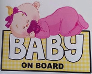 Cute Sleeping Baby on Board Girl Decal Sticker