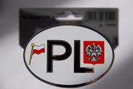 Poland PL Vinyl Country Auto Decal Sticker with Flag and Eagle