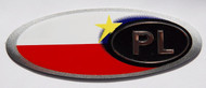 Poland PL Aluminum Country Auto Badge with Flag