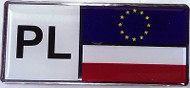 Polish Poland Resin PL Country Decal Badge with Flag and Euro Stars