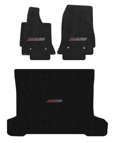 C7 Corvette Z06 Coupe Cargo and Floor Mat Set - Lloyds Mats with Z06 Badge: Jet Black Ultimate