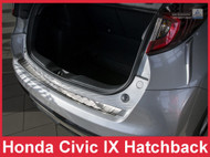 2014-2015 Honda Civic Hatchback 9th Gen - Brushed Stainless Steel Rear Bumper Protector Guard