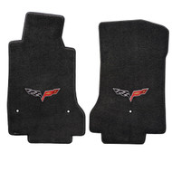 2005-2007 C6 Corvette 2 Piece Floor Mats - Lloyds Mats with Crossed Flags: Ultimat - Ebony