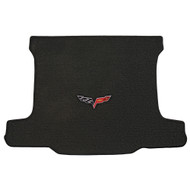 2005-2013 C6 Corvette Coupe Cargo Mat with Crossed Flags Logo - Lloyds Mats: Ultimat - Ebony 600013