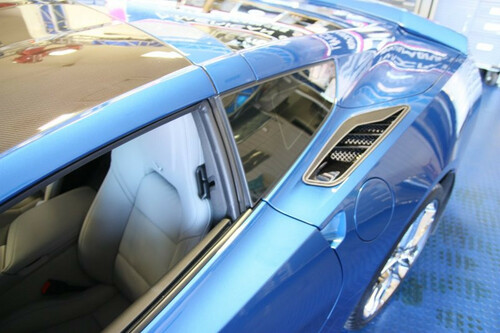 2014-2017 C7 Corvette Stingray - 2pc Carbon/Fiber Glass w/Stainless Steel Trim Rear Quarter Vent Set by ACC 052064