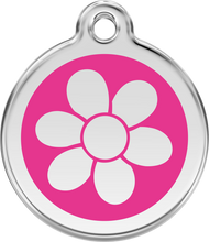 Red Dingo Stainless Steel and Enamel Pet ID Tag - Flower