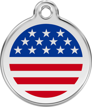 Red Dingo Stainless Steel and Enamel Pet ID Tag - Flags