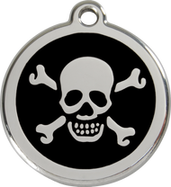 Red Dingo Stainless Steel and Enamel Pet ID Tag - Skull and Crossbones