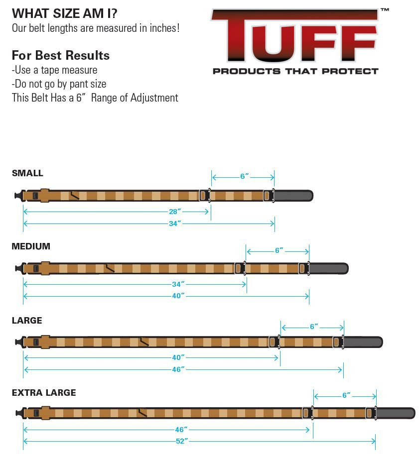 TUFF Cobra Ranger Belt Size Chart. Please use this when ordering.