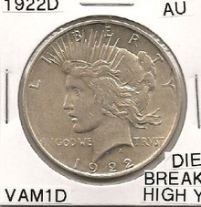"1922D Peace Dollar VAM 1D Die Break ""Y"" High AU"