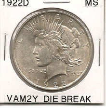 1922D Peace Dollar VAM 2Y Die Break MS