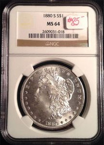 1880-S MORGAN DOLLAR NGC CERTIFIED MS 64 VERY NICE DETAIL 331088892919