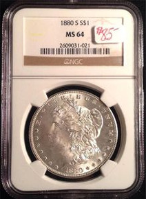 1880-S MORGAN DOLLAR NGC CERTIFIED MS 64 VERY NICE DETAIL