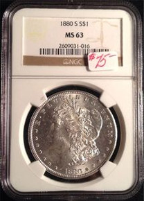 1880-S MORGAN DOLLAR NGC CERTIFIED MS 63 NICE LIGHT TONING ON BACK