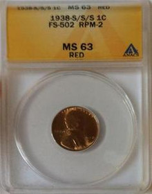 1938 S/S/S 1C FS-502 RPM-2 ANACS MS 63 RED