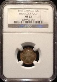 1953 SHOULDER FOLD CANADIAN MINT SET WITH SHOULDER FOLD NGC CERTIFIED NO PENNY