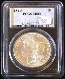1881-S MORGAN DOLLAR PCGS CERTIFIED MS 66