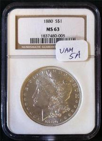 1880-P VAM-5A Doubled Date, Clashed Obverse n & s NGC CERTIFIED MS 63