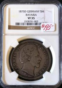 1875-D GERMANY 5M BAVARIA NGC CERTIFIED VF 35