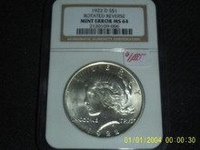 1922-D ROTATED REVERSE ERROR MS 64 Peace Dollar NGC