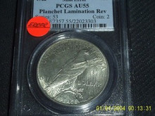 1922 Mint Error PCGS AU 55 Planchet Lamination Rev
