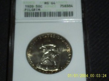 1920 Pilgrim Half Dollar Commemorative ANACS MS 64 PQ