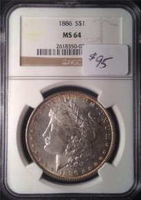 1886 MORGAN SILVER DOLLAR NGC CERTIFIED MS 64