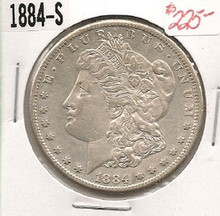 1884-S LIBERTY MORGAN SILVER DOLLAR AU ABOUT UNC