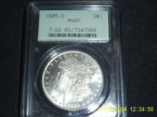 1885-O Morgan Silver Dollar Old PCGS Holder MS 65 PLish