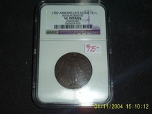 1787 Massachusetts ARROWS LEFT CLAW Cent VG NGC 1C