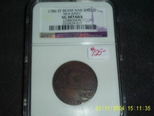 1786 ST BEAM NAR SHIELD NEW Jersey Colonial VG NGC