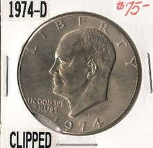 1974-D Eisenhower Dollar CLIPPED ERROR Choice Unc