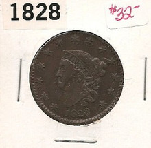 1828 Large Copper Cent EF Details Some Marks on Face
