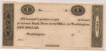 $1 Worthington Ohio Murray Draper Fairman Co Bank Note