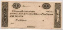 $1 Worthington Ohio Murray Draper Fairman Co Bank Note