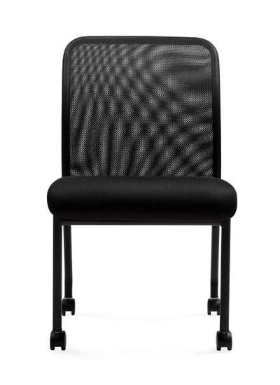 fices to Go Armless Mesh Back Guest Chair with Casters
