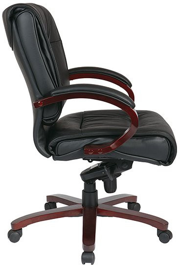 Deluxe Mid Back Leather Executive Chair With Mahogany Finished Base OfficeC