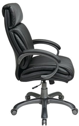Leather Executive Chair With Fixed Padded Arms