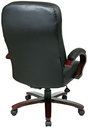 Leather Executive Chair With Wood Covered Steel Base