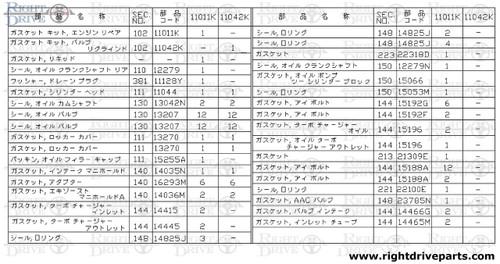 11011K - gasket kit, engine repair - BNR32 Nissan Skyline GT-R