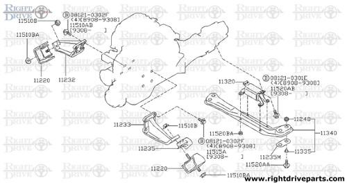 11235M - plate, heat shield - BNR32 Nissan Skyline GT-R