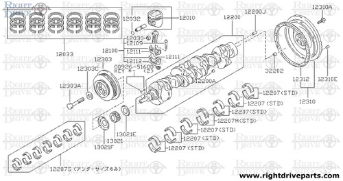 12111 - bearing, connecting rod - BNR32 Nissan Skyline GT-R
