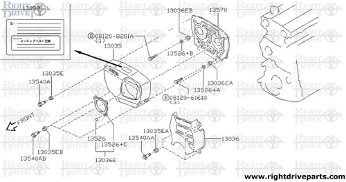 13099 - label, caution timing - BNR32 Nissan Skyline GT-R