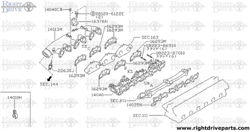 14040 - adapter, intake - BNR32 Nissan Skyline GT-R