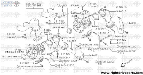 14460VC - tube assembly, inlet - BNR32 Nissan Skyline GT-R
