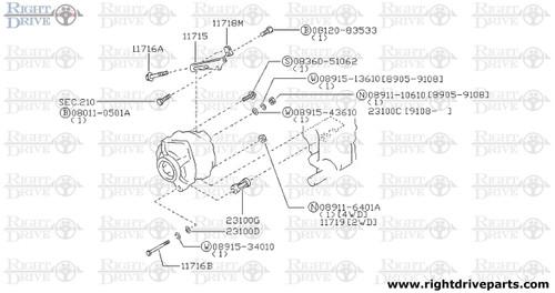 11718M - bracket, alternator adjust bolt - BNR32 Nissan Skyline GT-R